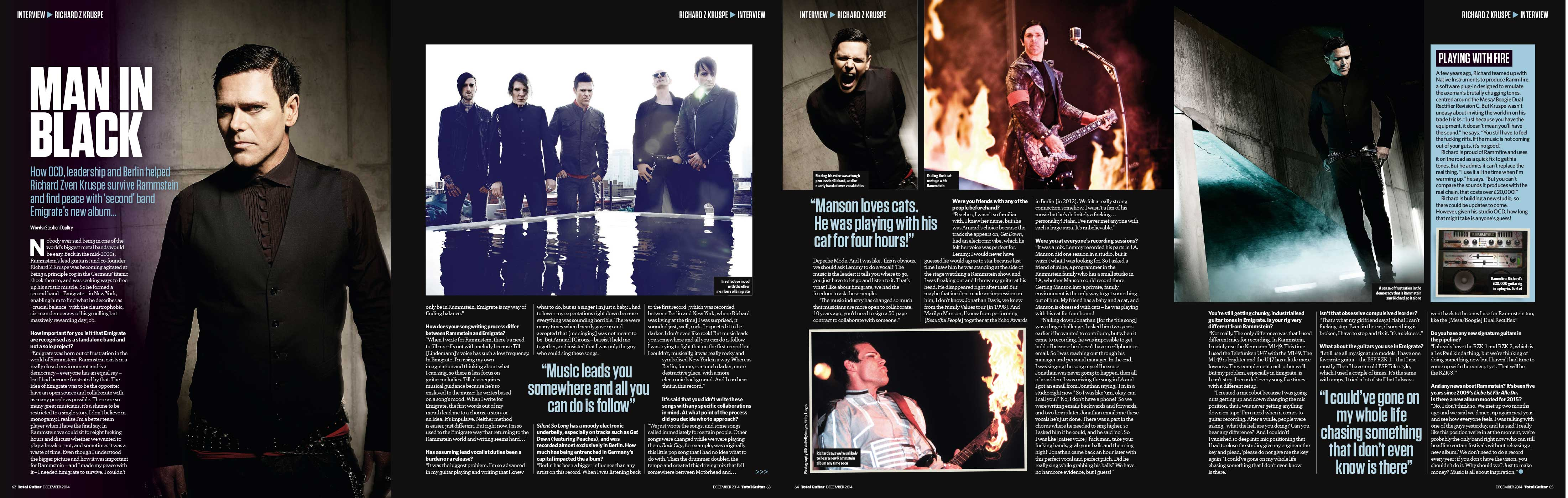 Rammstein's Richard Z Kruspe — Total Guitar 2014